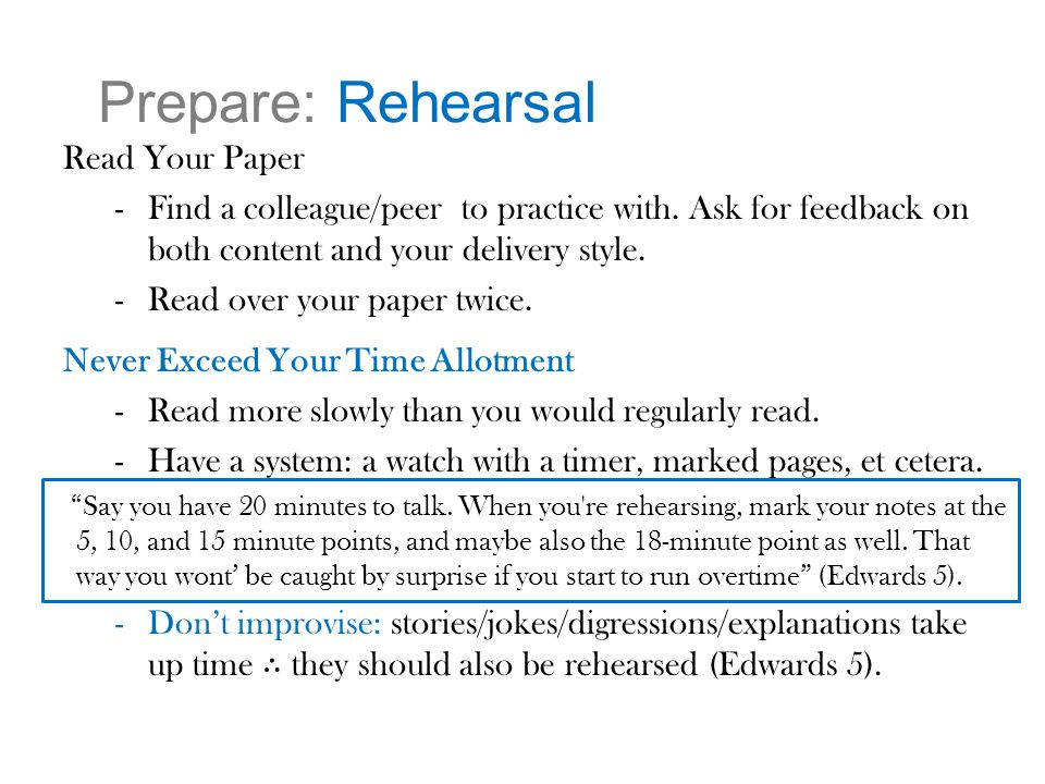 Prepare: Rehearsal Read Your Paper -Find a colleague/peer to practice with.