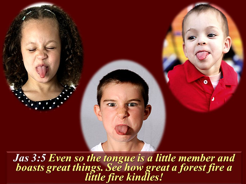 Jas 3:5 Even so the tongue is a little member and boasts great things.