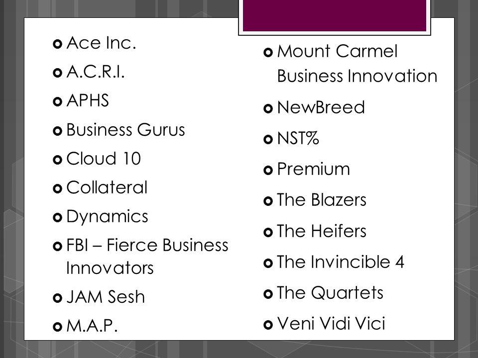  Mount Carmel Business Innovation  NewBreed  NST%  Premium  The Blazers  The Heifers  The Invincible 4  The Quartets  Veni Vidi Vici  Ace In