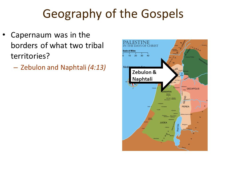 Geography of the Gospels Capernaum was in the borders of what two tribal territories? –Z–Zebulon and Naphtali (4:13) Zebulon & Naphtali
