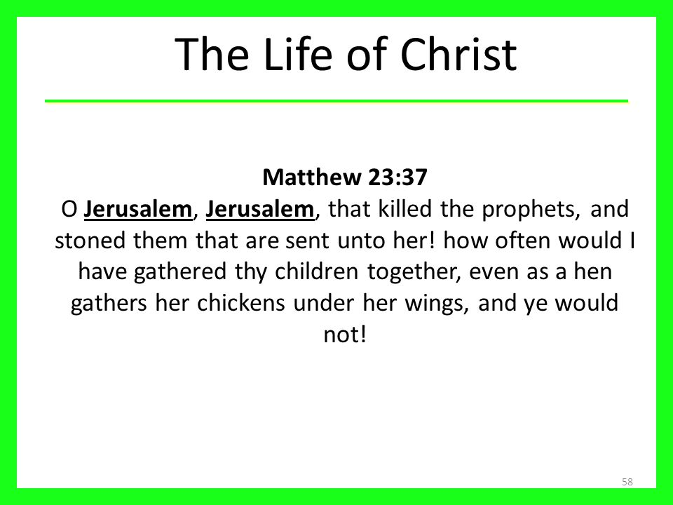 The Life of Christ 58 Matthew 23:37 O Jerusalem, Jerusalem, that killed the prophets, and stoned them that are sent unto her! how often would I have g