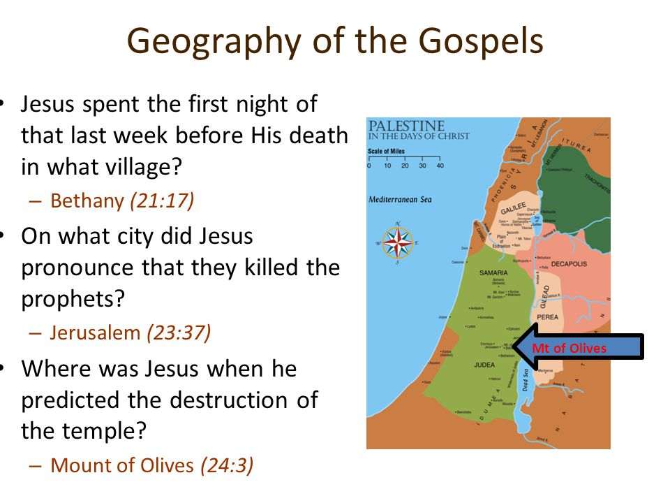Geography of the Gospels Jesus spent the first night of that last week before His death in what village? –B–Bethany (21:17) On what city did Jesus pro