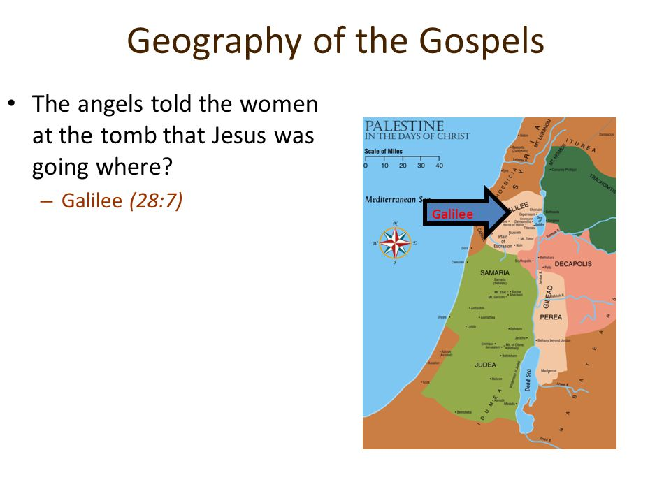 Geography of the Gospels The angels told the women at the tomb that Jesus was going where.