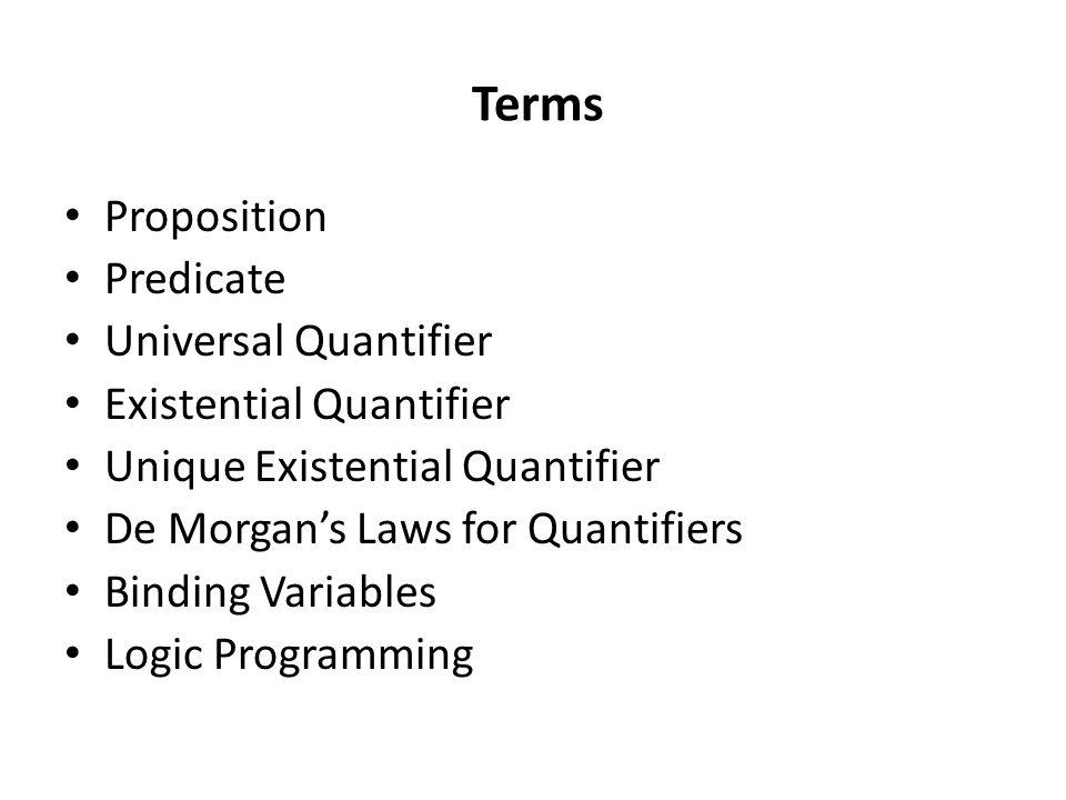 Terms Proposition Predicate Universal Quantifier Existential Quantifier Unique Existential Quantifier De Morgan's Laws for Quantifiers Binding Variables Logic Programming P.