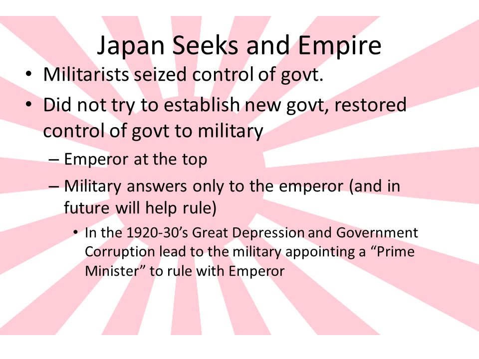 Japan Seeks and Empire Militarists seized control of govt.