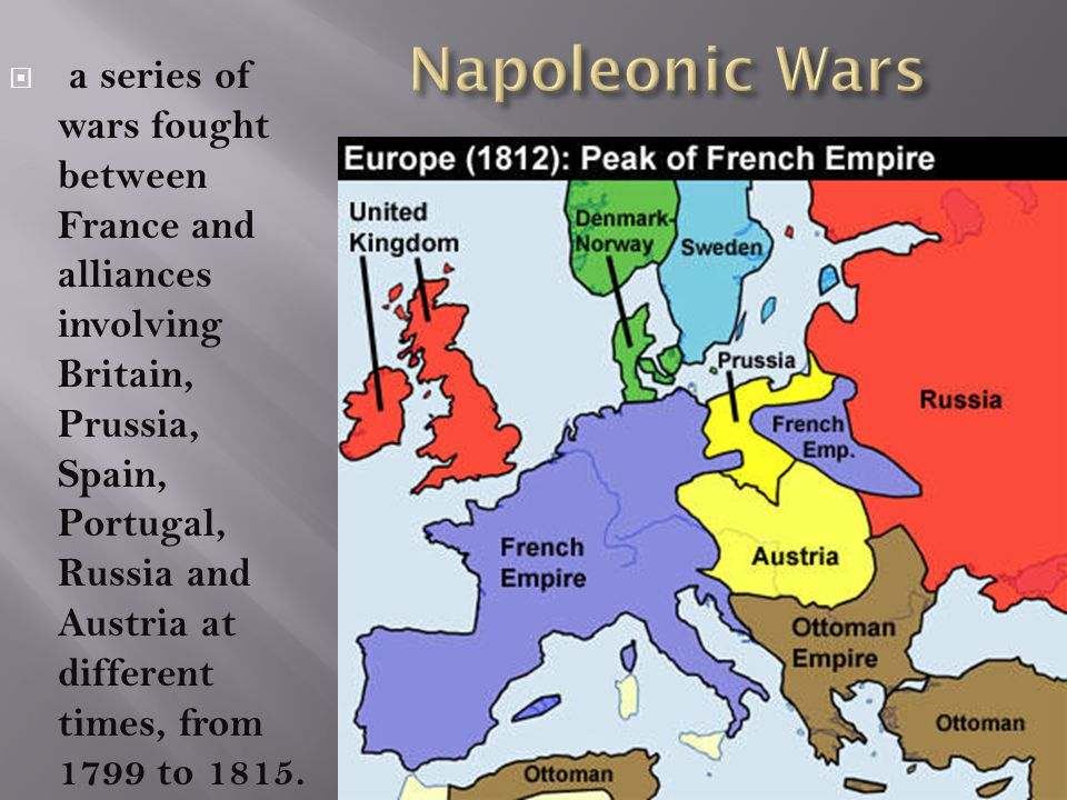  a series of wars fought between France and alliances involving Britain, Prussia, Spain, Portugal, Russia and Austria at different times, from 1799 t