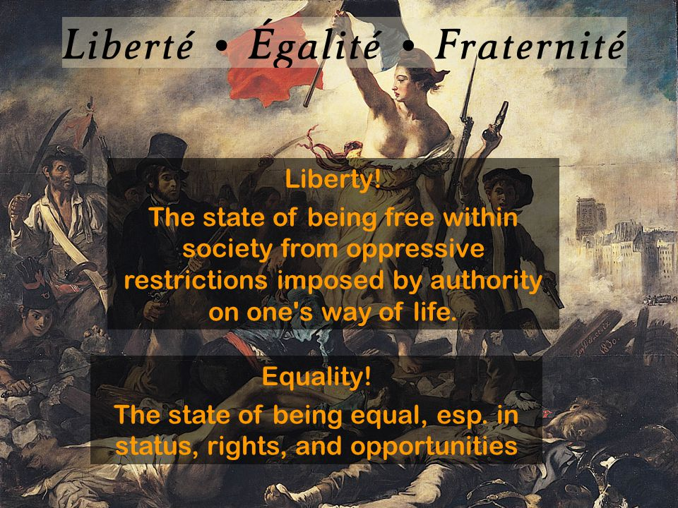 Liberty! The state of being free within society from oppressive restrictions imposed by authority on one's way of life. Equality! The state of being e