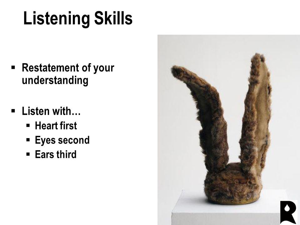 Listening Skills  Restatement of your understanding  Listen with…  Heart first  Eyes second  Ears third