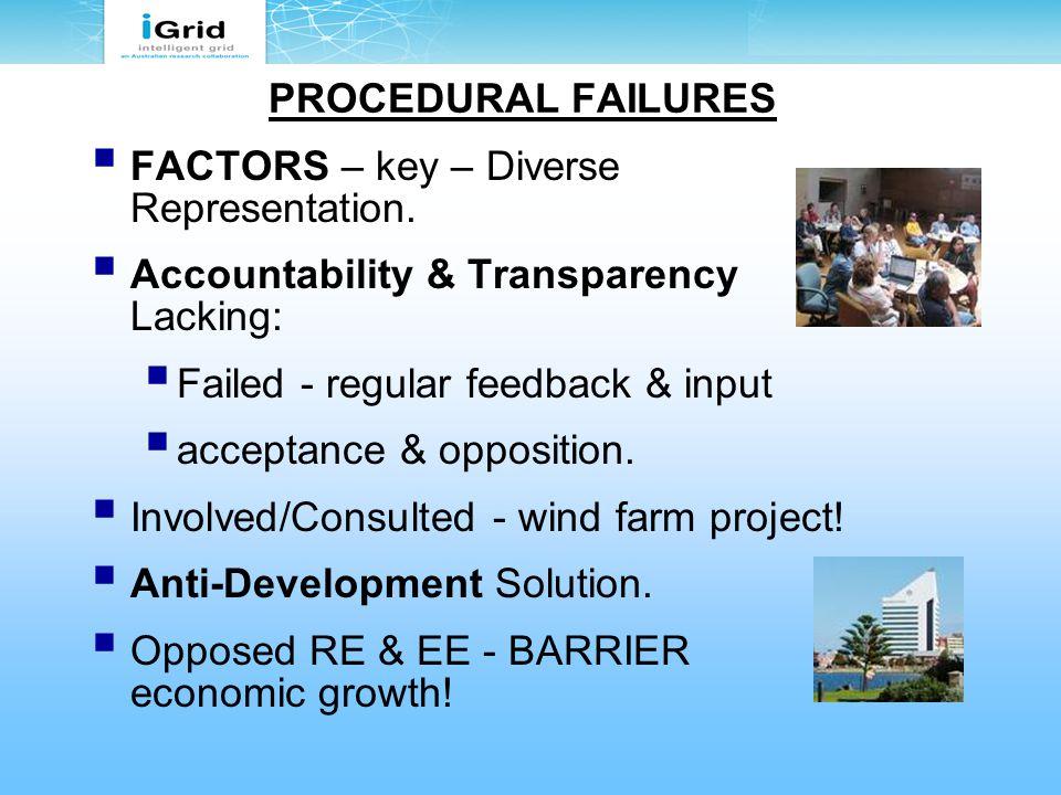 PROCEDURAL FAILURES  FACTORS – key – Diverse Representation.