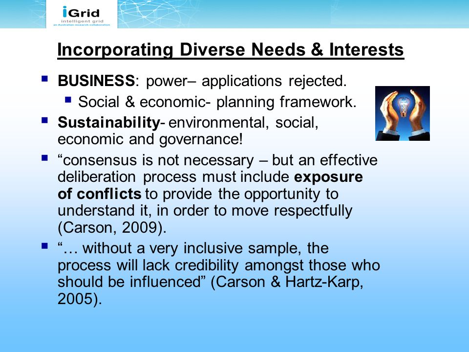 Incorporating Diverse Needs & Interests  BUSINESS: power– applications rejected.  Social & economic- planning framework.  Sustainability- environme