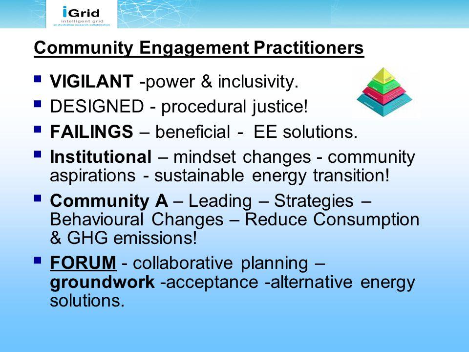 Community Engagement Practitioners  VIGILANT -power & inclusivity.