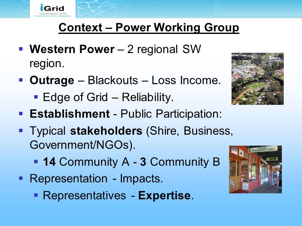 Context – Power Working Group  Western Power – 2 regional SW region.