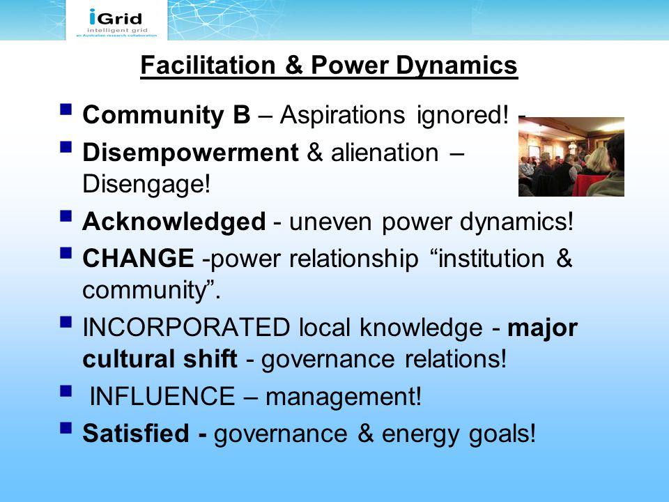 Facilitation & Power Dynamics  Community B – Aspirations ignored.