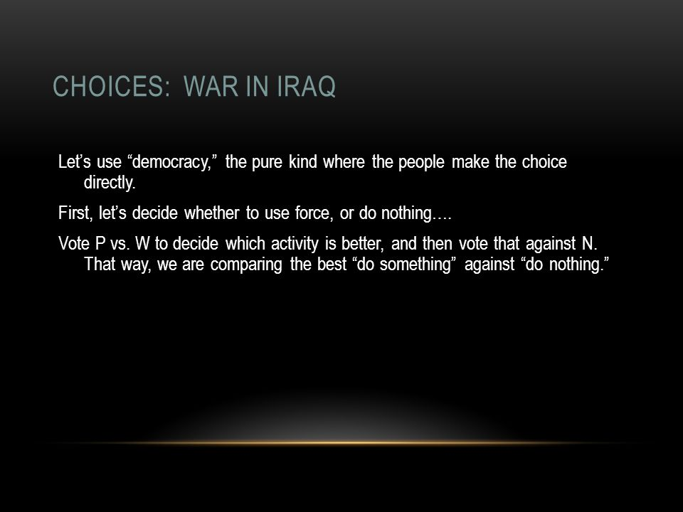 CHOICES: WAR IN IRAQ Let's use democracy, the pure kind where the people make the choice directly.