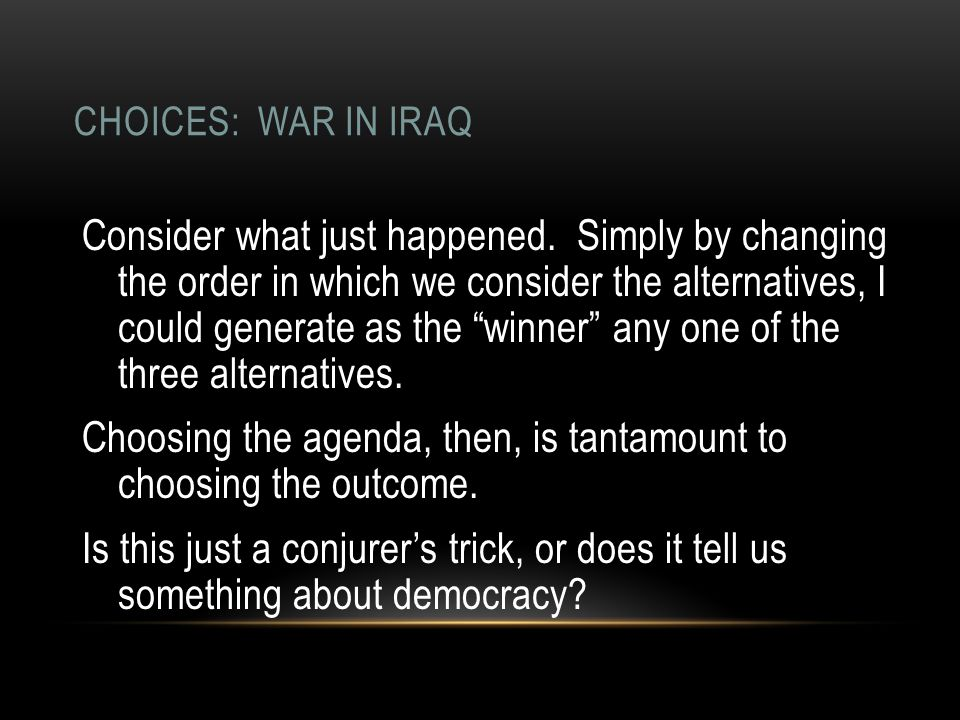 CHOICES: WAR IN IRAQ Consider what just happened.