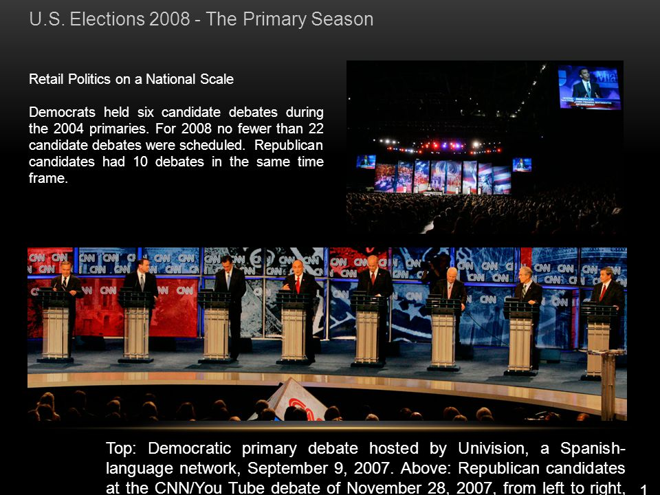 Retail Politics on a National Scale Democrats held six candidate debates during the 2004 primaries.
