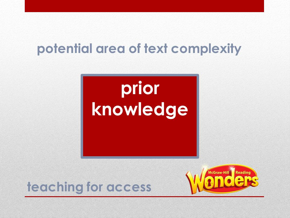 prior knowledge potential area of text complexity teaching for access