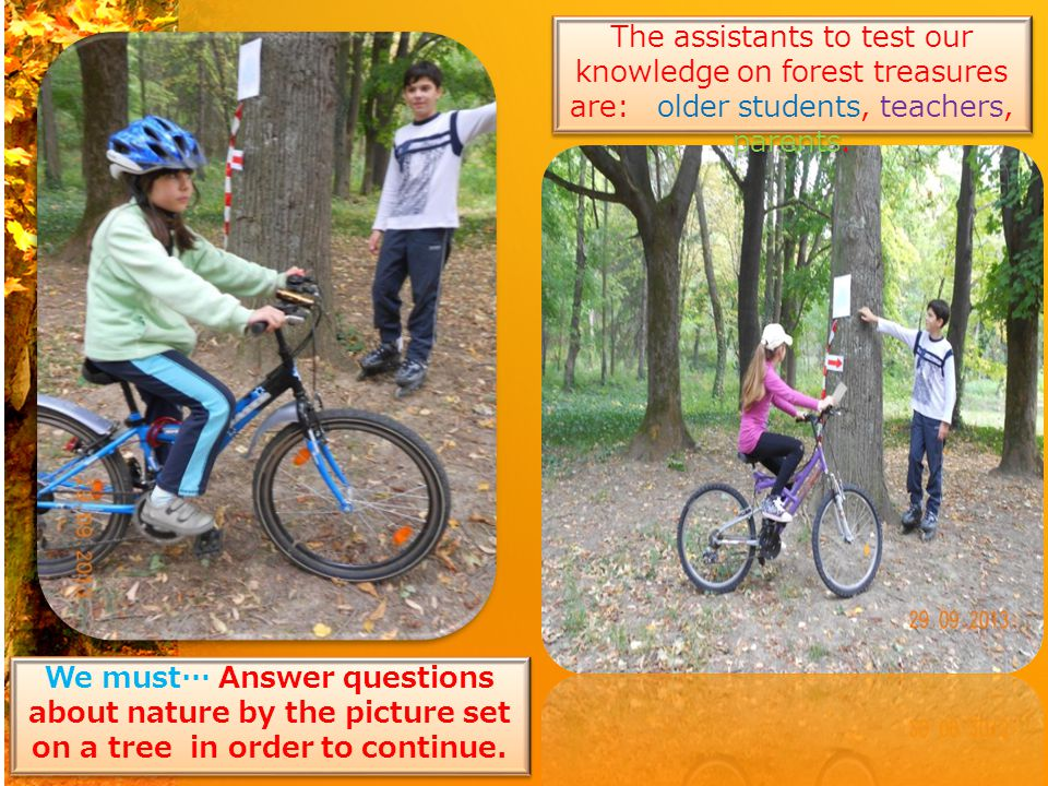 The assistants to test our knowledge on forest treasures are: older students, teachers, parents.