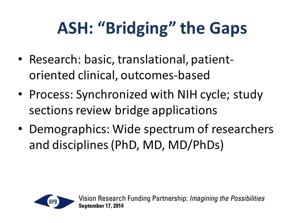 ASH: Bridging the Gaps Research: basic, translational, patient- oriented clinical, outcomes-based Process: Synchronized with NIH cycle; study sections review bridge applications Demographics: Wide spectrum of researchers and disciplines (PhD, MD, MD/PhDs)
