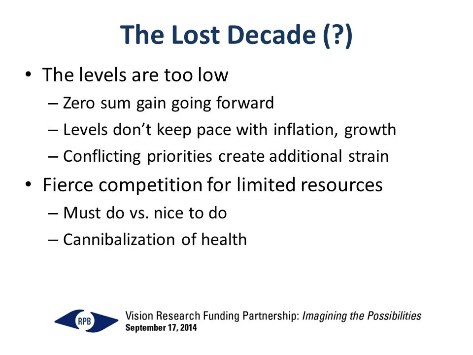 The Lost Decade (?) The levels are too low – Zero sum gain going forward – Levels don't keep pace with inflation, growth – Conflicting priorities create additional strain Fierce competition for limited resources – Must do vs.