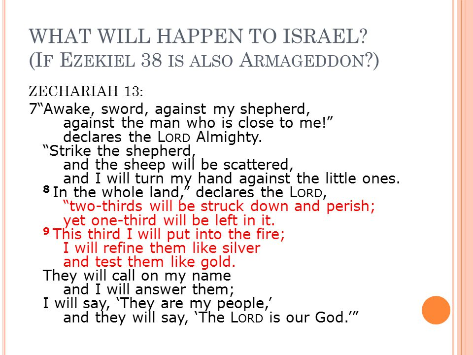 """WHAT WILL HAPPEN TO ISRAEL? (I F E ZEKIEL 38 IS ALSO A RMAGEDDON ?) ZECHARIAH 13: 7""""Awake, sword, against my shepherd, against the man who is close to"""