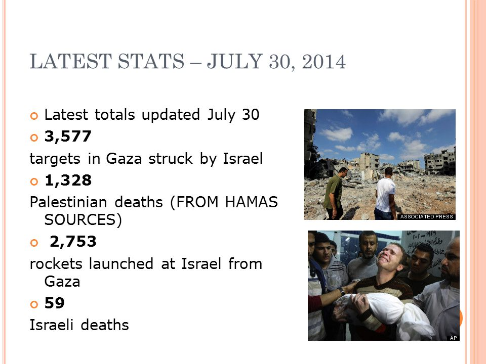 LATEST STATS – JULY 30, 2014 Latest totals updated July 30 3,577 targets in Gaza struck by Israel 1,328 Palestinian deaths (FROM HAMAS SOURCES) 2,753 rockets launched at Israel from Gaza 59 Israeli deaths