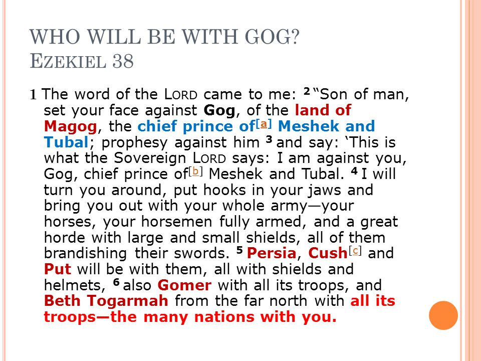 """WHO WILL BE WITH GOG? E ZEKIEL 38 1 The word of the L ORD came to me: 2 """"Son of man, set your face against Gog, of the land of Magog, the chief prince"""