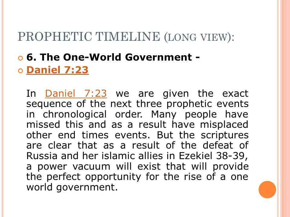 PROPHETIC TIMELINE ( LONG VIEW ): 6.