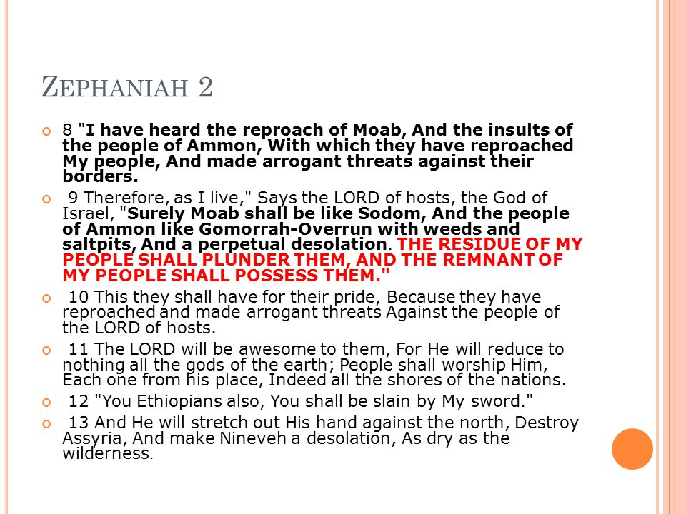Z EPHANIAH 2 8 I have heard the reproach of Moab, And the insults of the people of Ammon, With which they have reproached My people, And made arrogant threats against their borders.