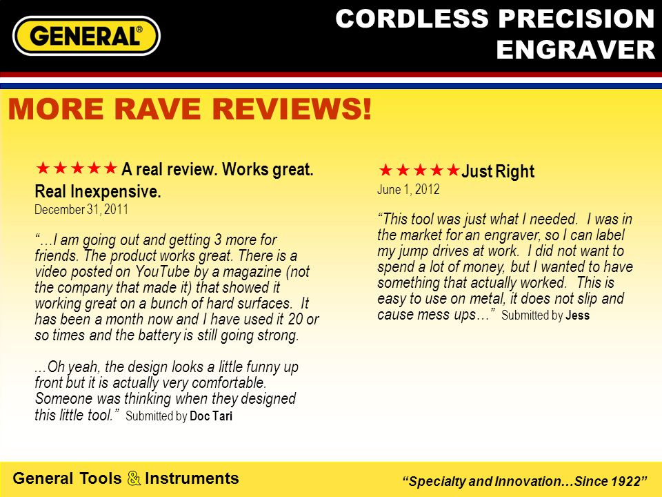 """Specialty and Innovation…Since 1922"" General Tools Instruments CORDLESS PRECISION ENGRAVER  A real review. Works great. Real Inexpensive. Decemb"