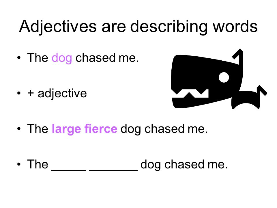 Adjectives are describing words The dog chased me.