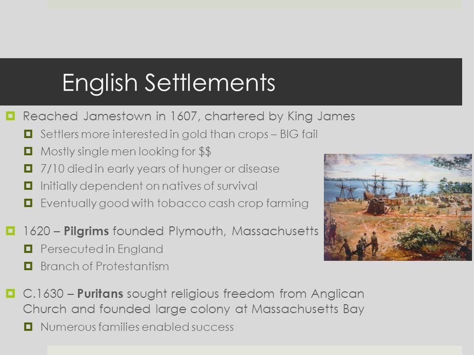 English Settlements  Reached Jamestown in 1607, chartered by King James  Settlers more interested in gold than crops – BIG fail  Mostly single men looking for $$  7/10 died in early years of hunger or disease  Initially dependent on natives of survival  Eventually good with tobacco cash crop farming  1620 – Pilgrims founded Plymouth, Massachusetts  Persecuted in England  Branch of Protestantism  C.1630 – Puritans sought religious freedom from Anglican Church and founded large colony at Massachusetts Bay  Numerous families enabled success