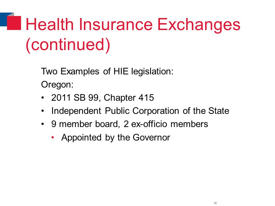 Health Insurance Exchanges (continued) Two Examples of HIE legislation: Oregon: 2011 SB 99, Chapter 415 Independent Public Corporation of the State 9 member board, 2 ex-officio members Appointed by the Governor 18