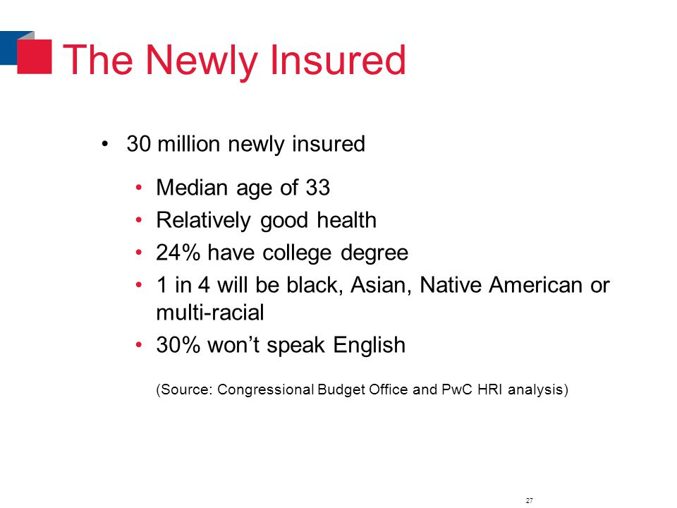 The Newly Insured 30 million newly insured Median age of 33 Relatively good health 24% have college degree 1 in 4 will be black, Asian, Native American or multi-racial 30% won't speak English (Source: Congressional Budget Office and PwC HRI analysis) 27