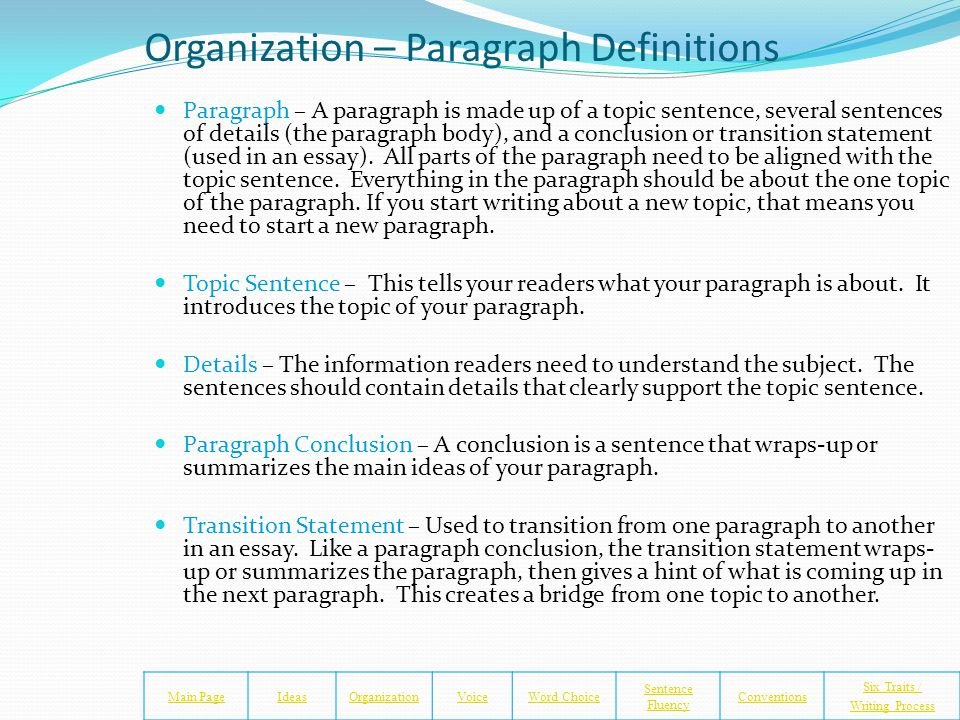 Organization and Graphic Organizer Main PageIdeasOrganizationVoiceWord Choice Sentence Fluency Conventions Six Traits / Writing Process Obtain the 5 p