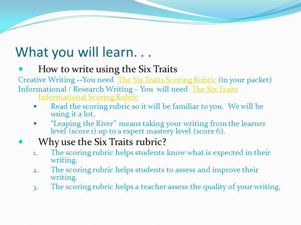 Six Traits and The Writing Process Main PageIdeasOrganizationVoiceWord Choice Sentence Fluency Conventions Six Traits / Writing Process Start 1.Ideas 1.