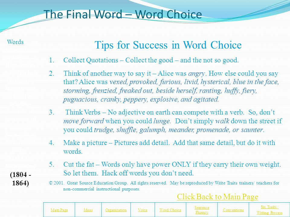 Uncle Tom's Cabin – Harriet Beecher Stowe Main PageIdeasOrganizationVoiceWord Choice Sentence Fluency Conventions Six Traits / Writing Process Did Har