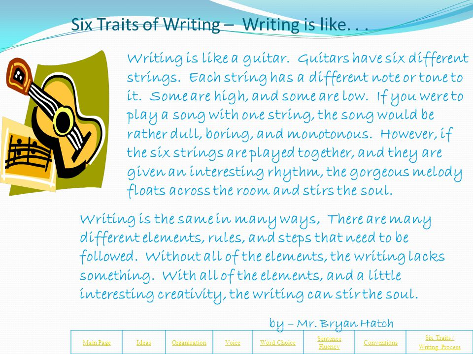 Six Traits of Writing Notes and Assignment Worksheet Main PageIdeasOrganizationVoiceWord Choice Sentence Fluency Conventions Six Traits / Writing Process Directions: 1.Make sure you have finished your Six Traits of Writing Notes and Assignments Worksheet.