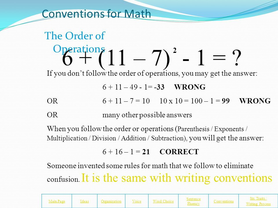 Conventions of Math Someone came up with some rules (conventions) for math and called them... The Order of Operations Parentheses(Please) Exponents(Ex