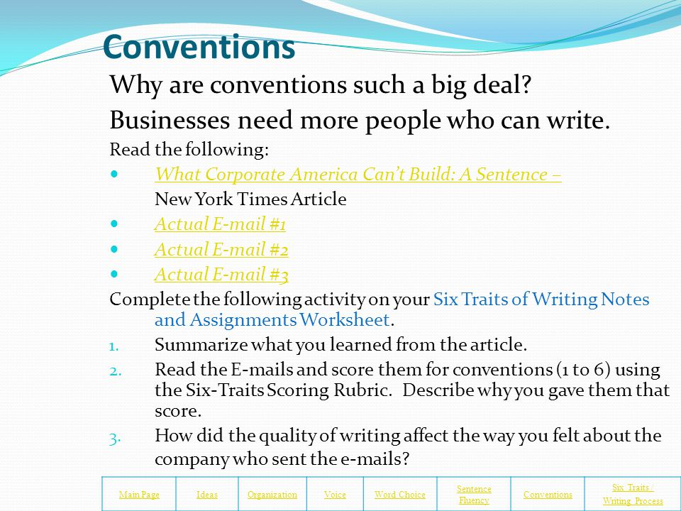 Conventions for Writing Main PageIdeasOrganizationVoiceWord Choice Sentence Fluency Conventions Six Traits / Writing Process Someone invented writing