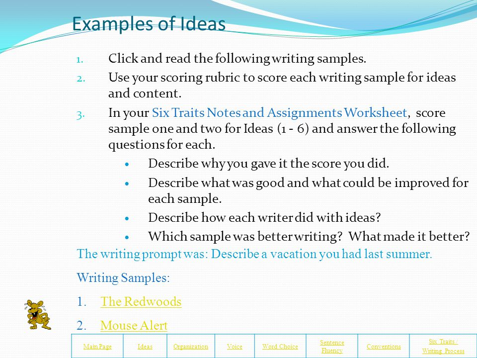 Conventions Lessons Main PageIdeasOrganizationVoiceWord Choice Sentence Fluency Conventions Six Traits / Writing Process The following slides will give you some time to learn and practice conventions on your own 1.Click on the websites to review and learn about common conventions.