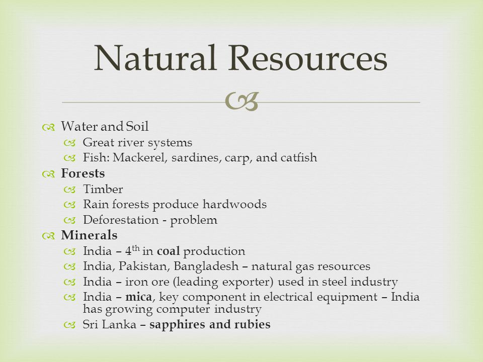   Water and Soil  Great river systems  Fish: Mackerel, sardines, carp, and catfish  Forests  Timber  Rain forests produce hardwoods  Deforesta