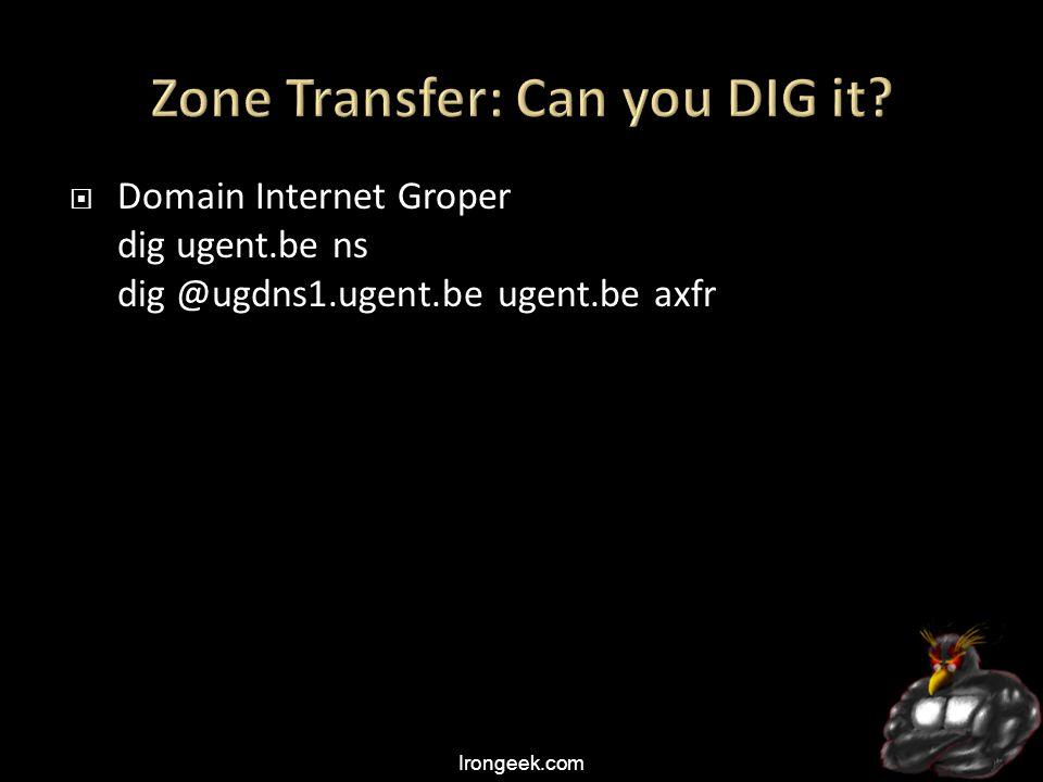 Irongeek.com  Domain Internet Groper dig ugent.be ns dig @ugdns1.ugent.be ugent.be axfr