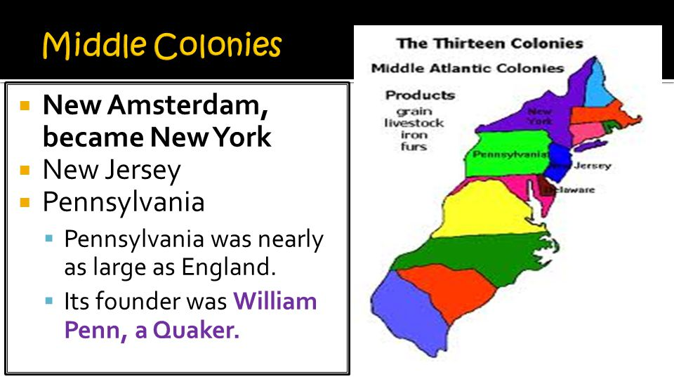  New Amsterdam, became New York  New Jersey  Pennsylvania  Pennsylvania was nearly as large as England.