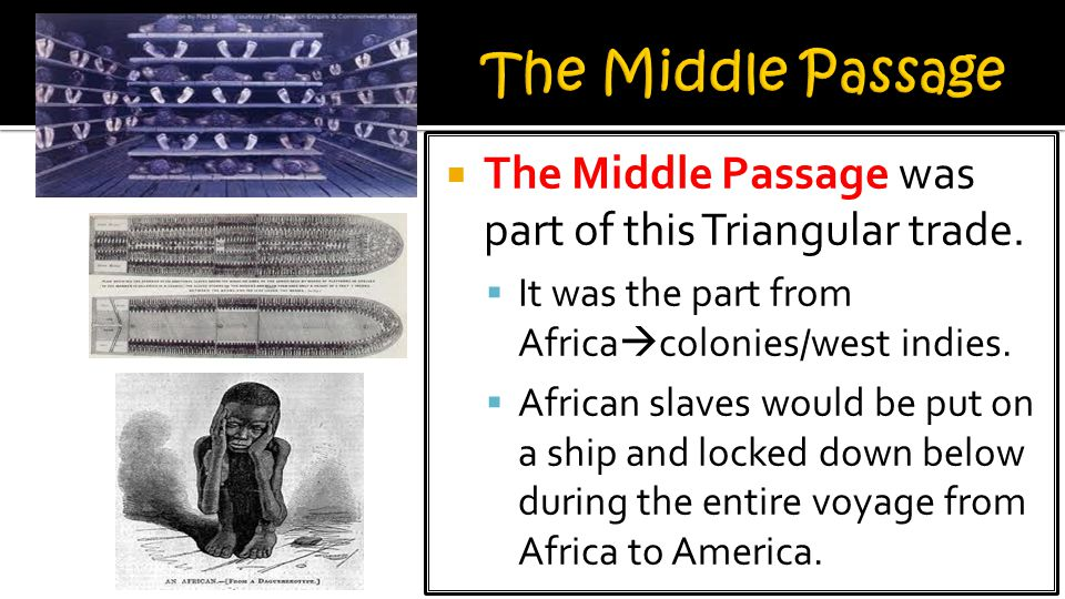  The Middle Passage was part of this Triangular trade.