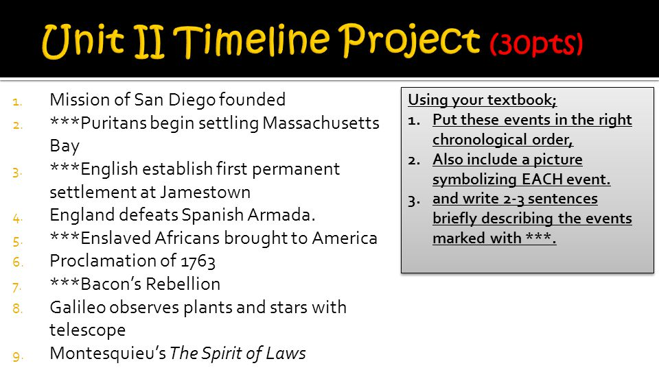 1.Mission of San Diego founded 2. ***Puritans begin settling Massachusetts Bay 3.