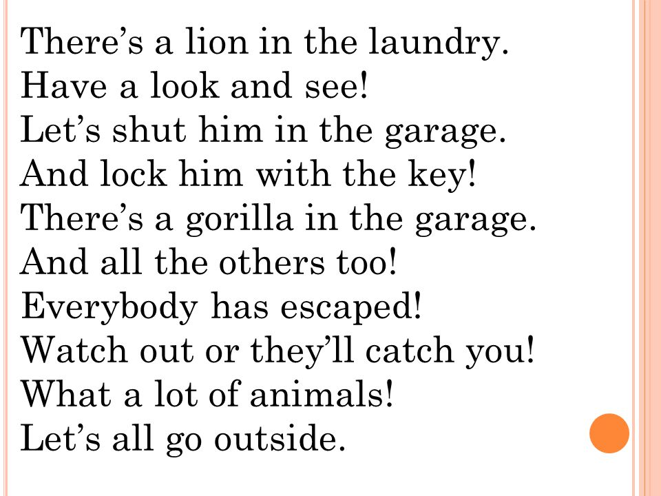 There's a lion in the laundry.Have a look and see.
