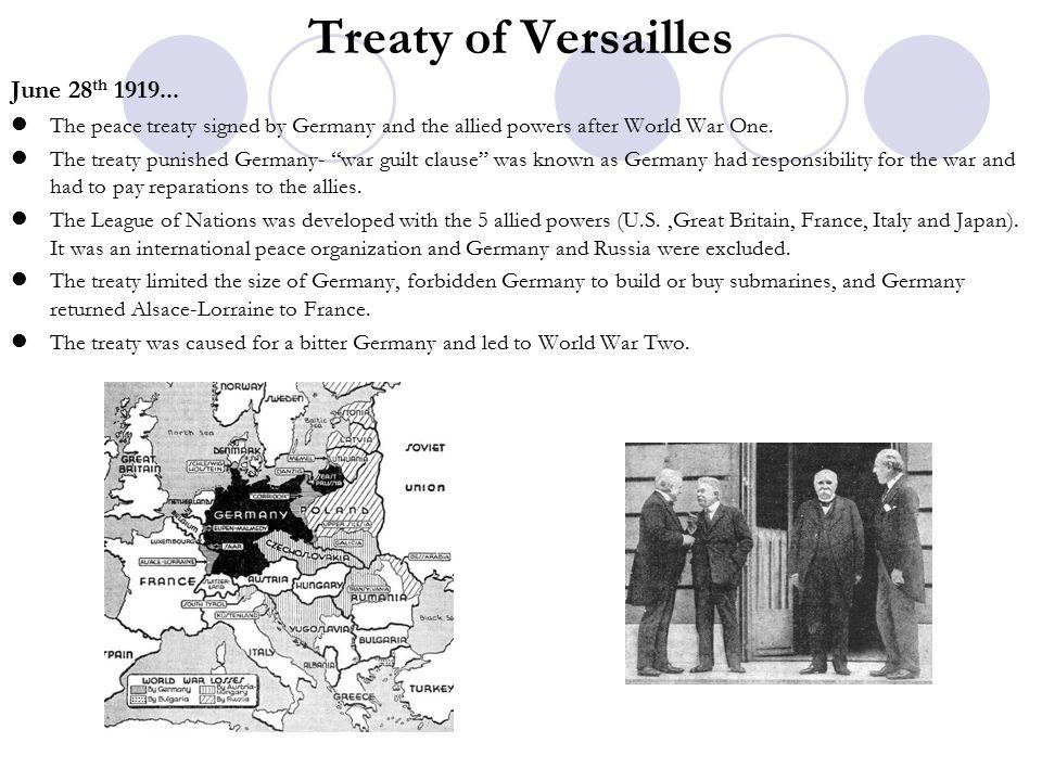 Treaty of Versailles June 28 th 1919...