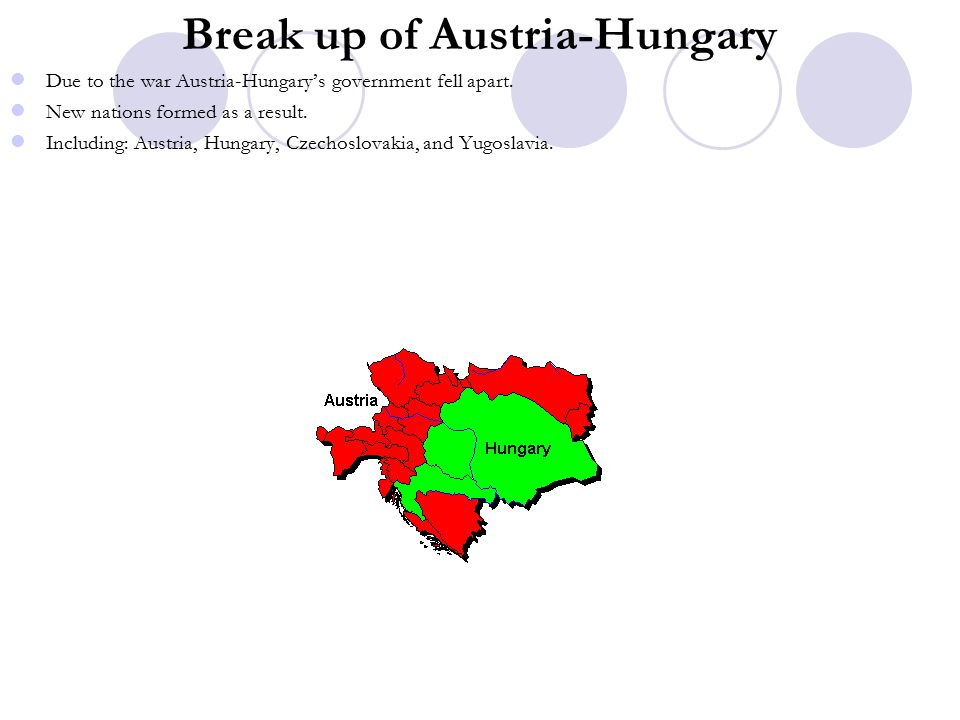 Break up of Austria-Hungary Due to the war Austria-Hungary's government fell apart.