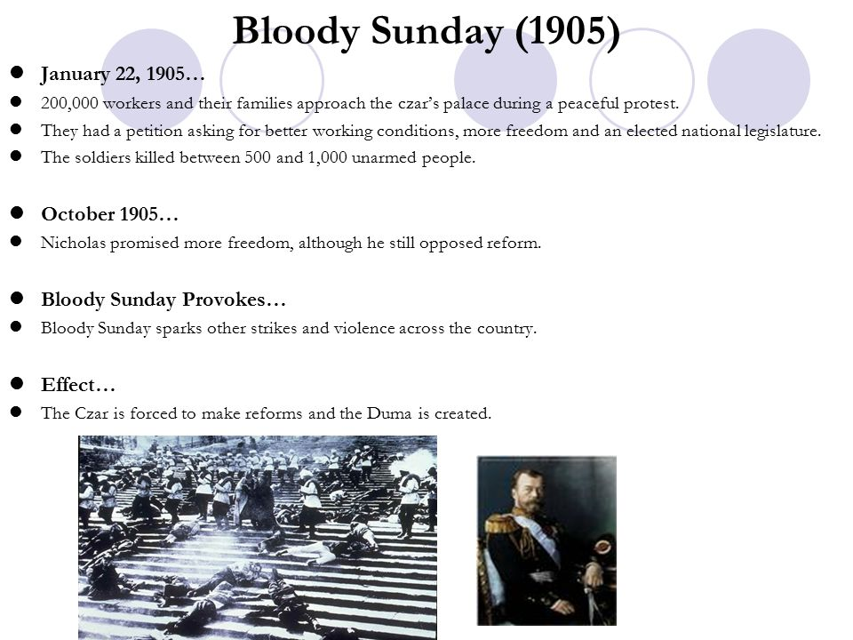 Bloody Sunday (1905) January 22, 1905… 200,000 workers and their families approach the czar's palace during a peaceful protest.